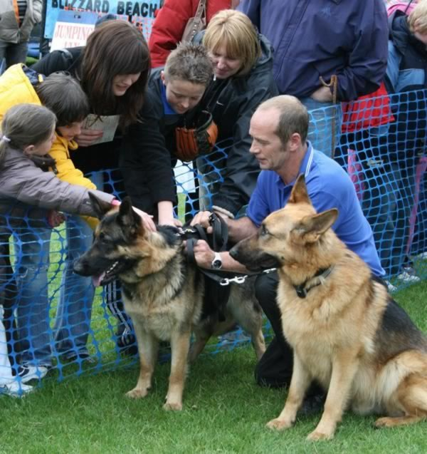 Mike with Narla and Mavrick meeting the public